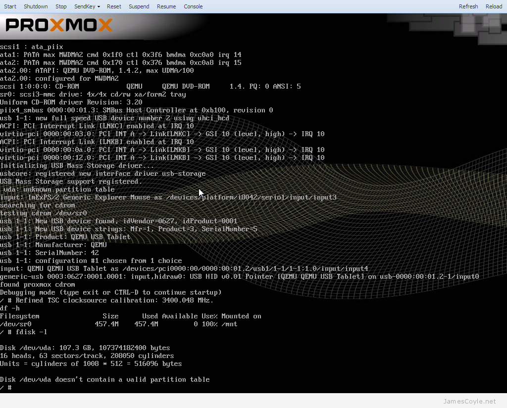Proxmox boot install screen debug console