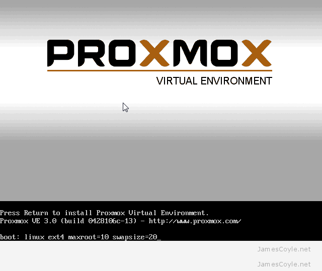 Proxmox boot install screen