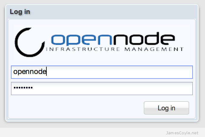 opennode-login-screen