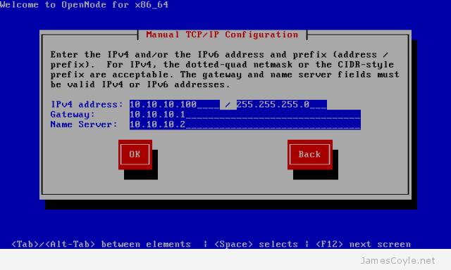 OpenNode Install Screen 3