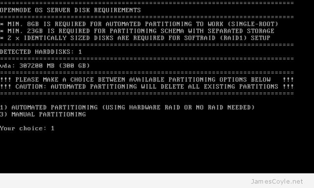 OpenNode Install Screen 4