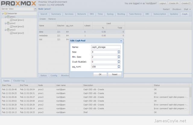 ceph storage on proxmox